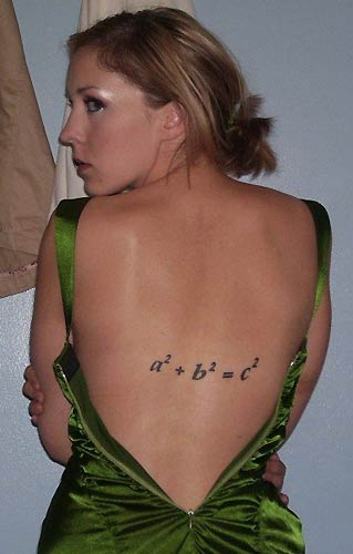 Student with Math Formula on Her Back