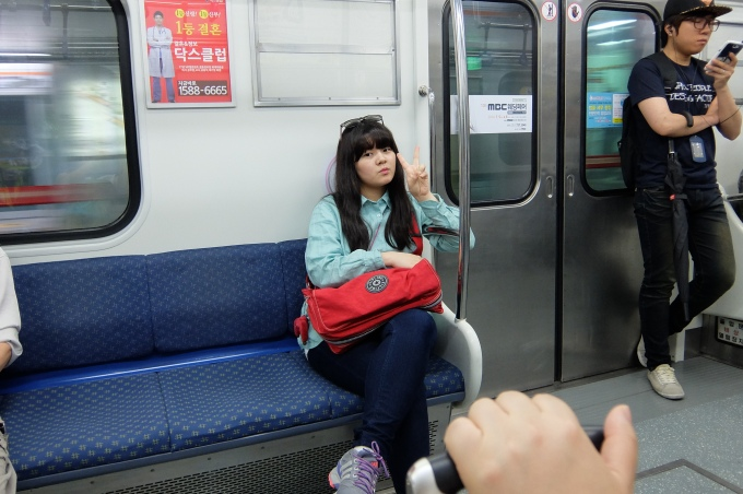 Young Korean Woman on Busan Subway