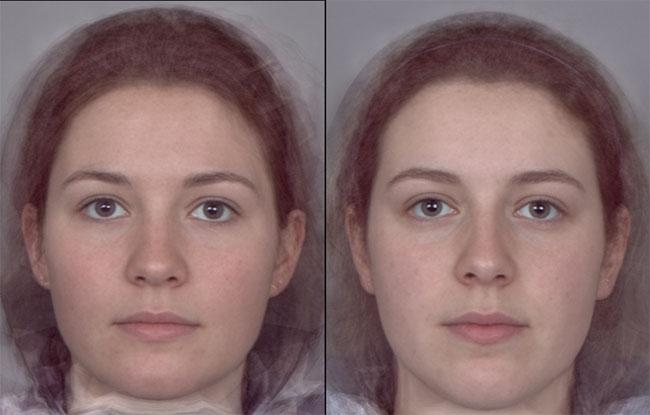 composite faces of the 10 women with highest and lowest levels of oestrogen