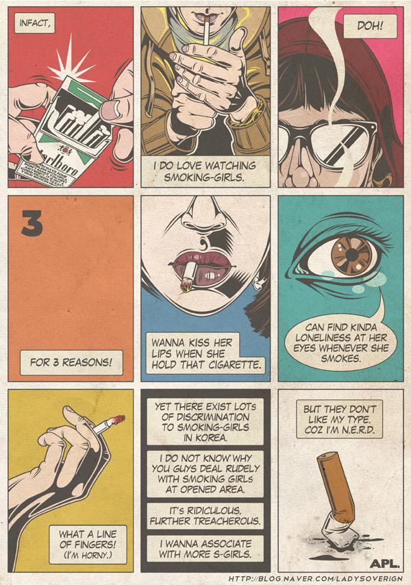 Korean Women Smoking Discrimination Cartoon