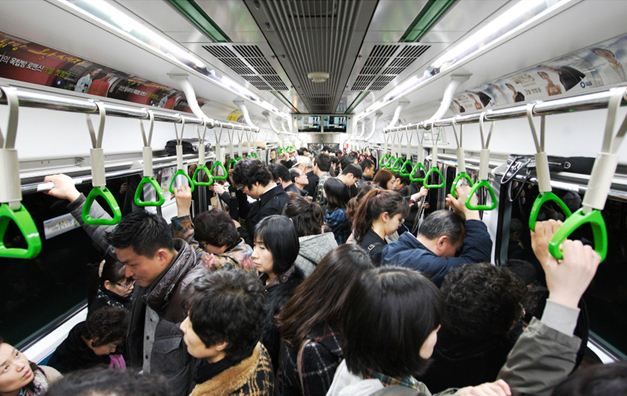 Crowded Korean Subway