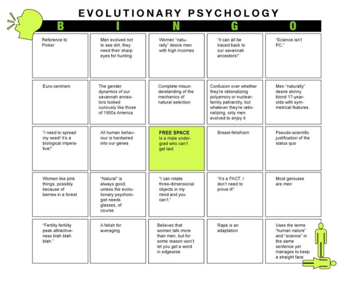 evolutionary psychology bingo