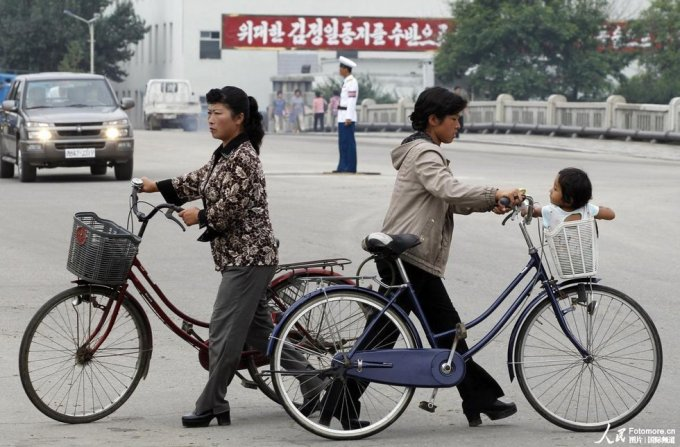 North Korean Women Bikes