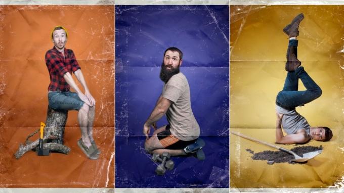 Men in Women's Poses Men-Ups